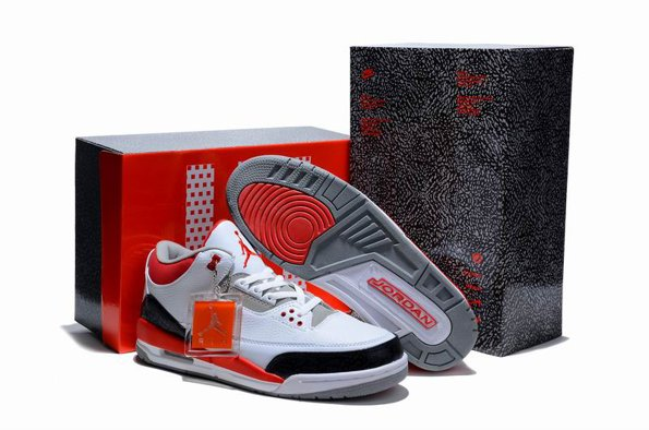 2012 Air Jordan 3 III Retro Cement Homme Chaussure Limited blanc Noir Red