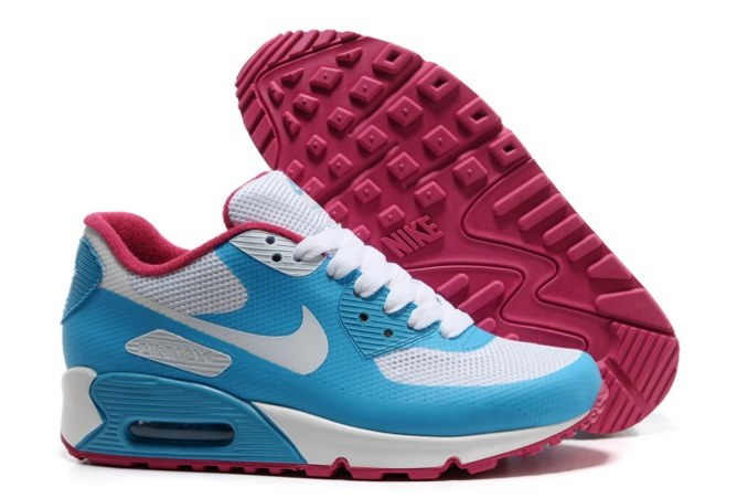 2013 pas cher Air Max 90 Hyperfuse Prm Femme Chaussure For Sale Bleu blanc Red