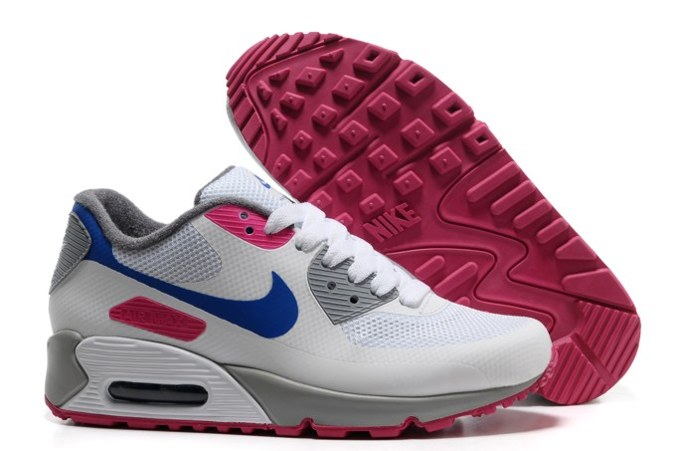 2013 pas cher Air Max 90 Hyperfuse Prm Femme Chaussure For Sale Grey blanc Bleu