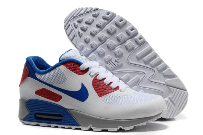 2013 pas cher Air Max 90 Hyperfuse Prm Femme Chaussure For Sale blanc Bleu Red