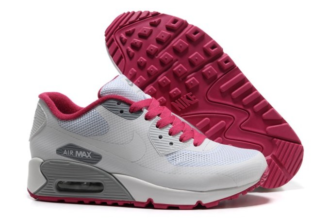 2013 pas cher Air Max 90 Hyperfuse Prm Femme Chaussure For Sale blanc Grey Red