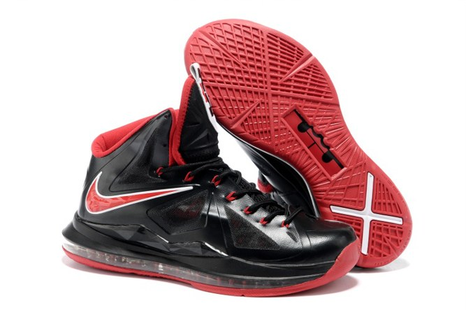 2013 pas cher Nike Zoom Lebron 10 X Homme Chaussure For Sale Noir Red