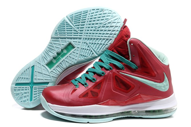 2013 Discount Nike Zoom Lebron 10 X Homme Chaussure en ligne Red blanc Green