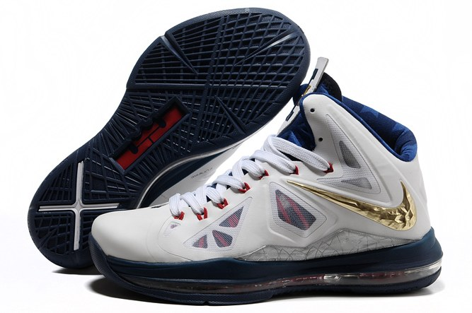 2013 Discount Nike Zoom Lebron 10 X Homme Chaussure en ligne blanc Or