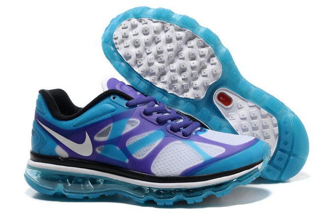 2013 For Sale Air Max 2012 Femme Chaussure Breathable en ligne Bleu Purple blanc
