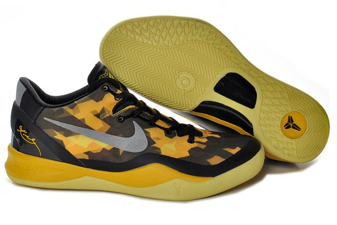 2013 Newest Nike Zoom Kobe VIII 8 Homme Chaussure Noir Yellow Silver