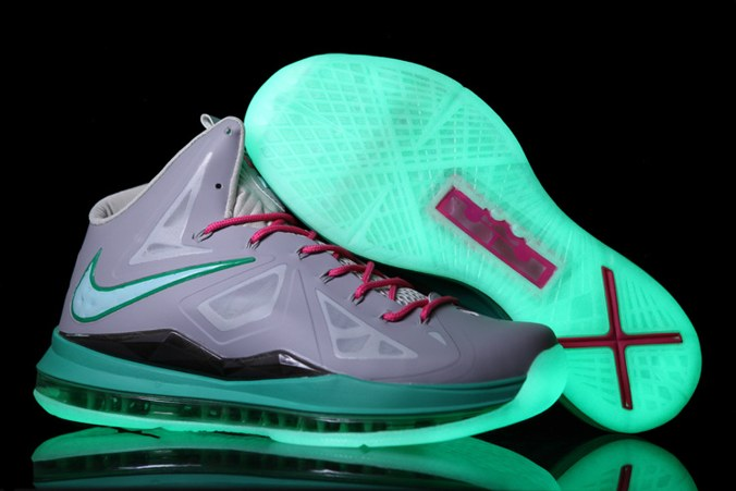 2013 Nike Lebron X 10 Homme Sneakers Chaussure Glowing Silver Grey Pink Green