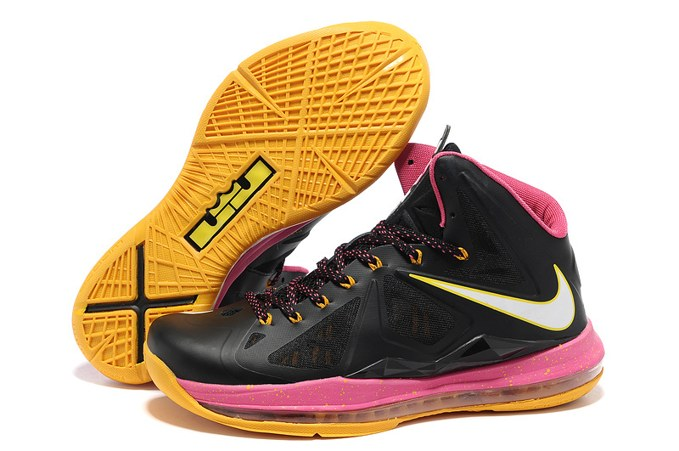2013 Nike Lebron X 10 Homme Sneakers Chaussure Hot Sell Noir Pink yellow