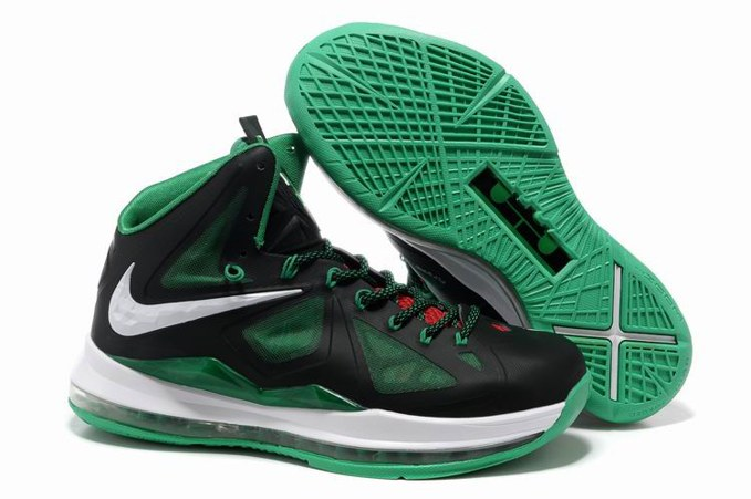 2013 Nike Lebron X 10 Homme Sneakers Chaussure New pas cher Noir Green