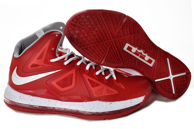 2013 Nike Lebron X 10 Homme Sneakers Chaussure New Outlet Red blanc