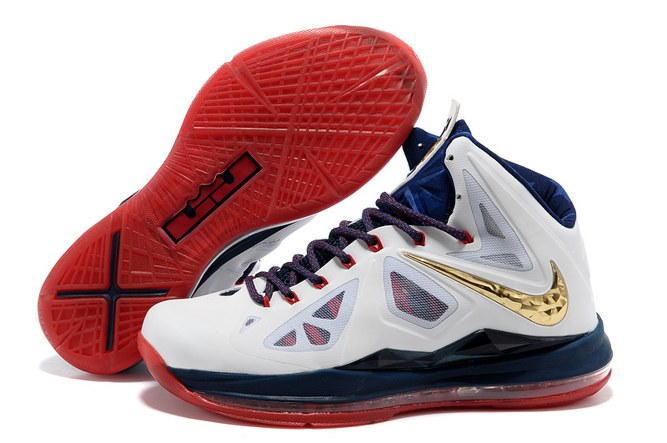 2013 Outlet Nike Zoom Lebron 10 X Homme Chaussure en ligne blanc Or Red