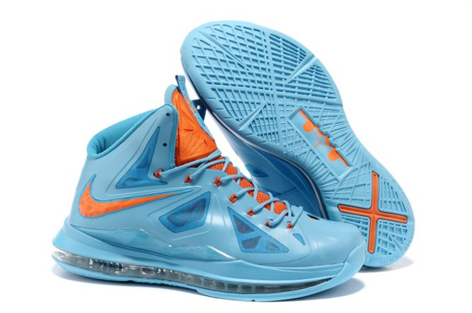 2013 Outlet Nike Zoom Lebron 10 X Homme Chaussure To Buy Bleu Orange