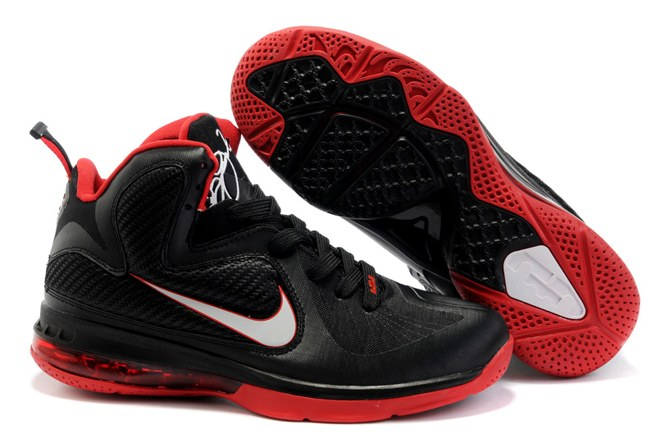 2013 Outlet Nike Zoom Lebron 9 IX Homme Chaussure For Sale Red Noir