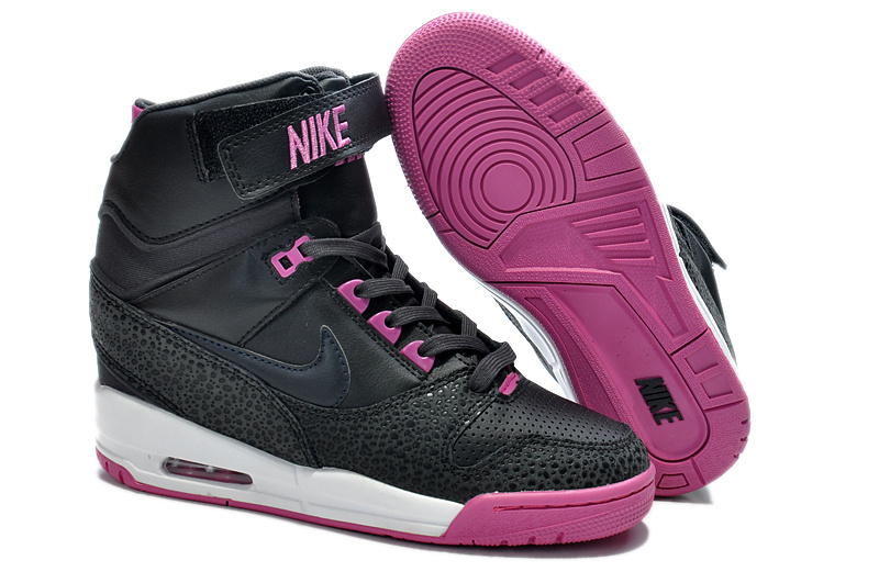 2014 Nike Air Revolution Sky High Femme Noir Prune Rouge KDLP0024