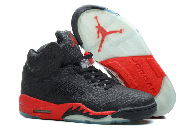 2014 Nike Air Jordan 5 dynamitage fissures hommes Black Fire Red KDLP0016