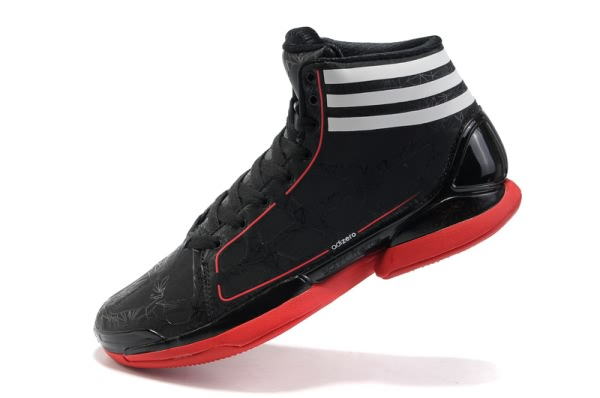 Adidas adizero Crazy Light 8810 cuir Derrick Rose Chaussures de basket Noir/Rouge