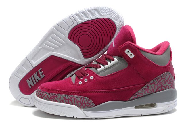 Air Jordan 3 III Cement Retro Femme Fur Chaussure Red Grey New en ligne