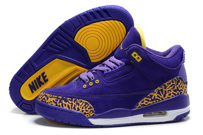 Air Jordan 3 III Cement Retro Femme Chaussure Fur pas cher Sale Purple Yellow