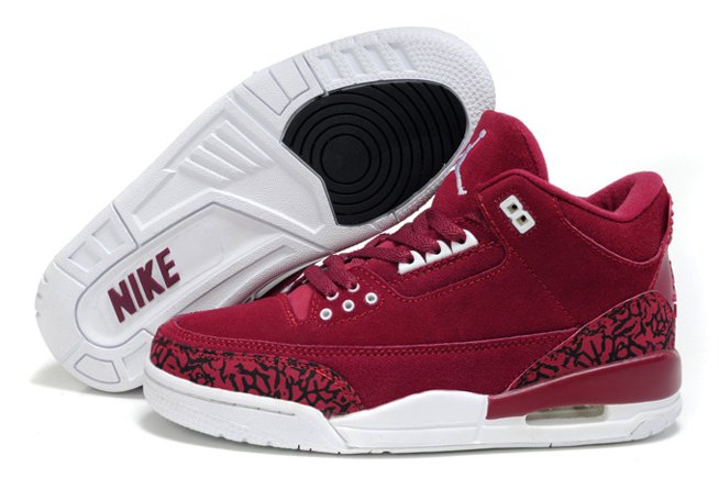 Air Jordan 3 III Cement Retro Femme Chaussure Fur Outlet en ligne New Wine Red