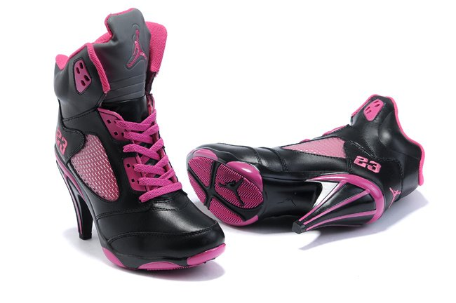 Air Jordan 5 v Femme Heels Ankle Boots 2012 Noir Pink New Fashion pas cher