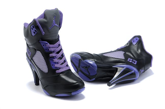Air Jordan 5 v Femme Heels Ankle Boots Noir Purple Discount for Fashion Lady