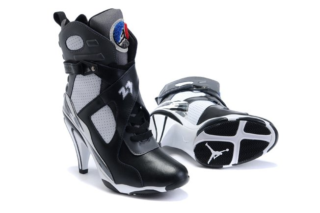 Air Jordan 8 VIII Femme Heels Ankle Boots 2012 Noir blanc Discount For Sale