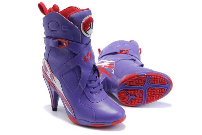 Air Jordan 8 VIII Femme Heels Ankle Boots 2012 Purple Red pas cher Sale