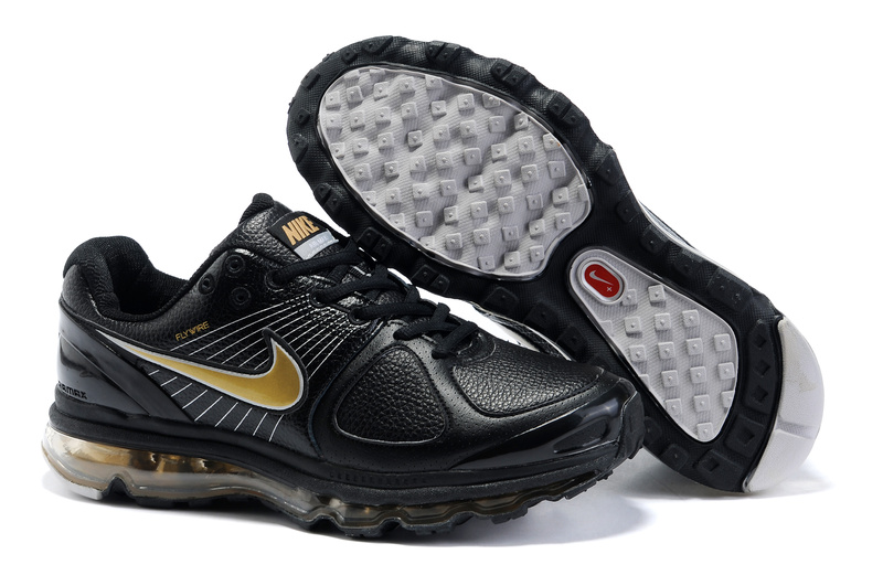 Air Max 2010 Leather Homme Chaussure pas cher Sale Noir Or