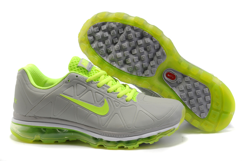 Air Max 2011 Leather Homme Chaussure Gros Fluorescent Green grey