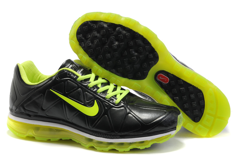 Air Max 2011 Leather Homme Chaussure Gros Noir Fluorescent Green