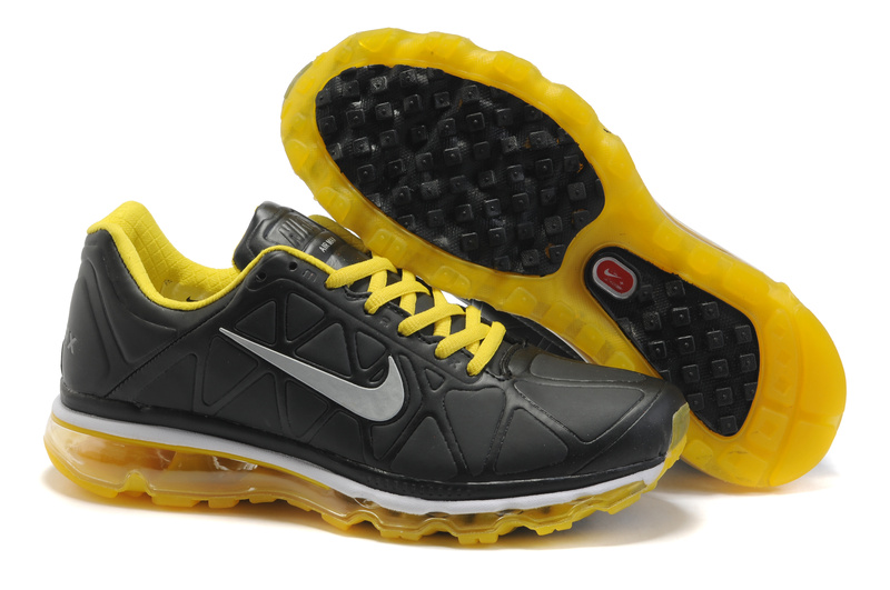 Air Max 2011 Leather Homme Chaussure Gros yellow Noir