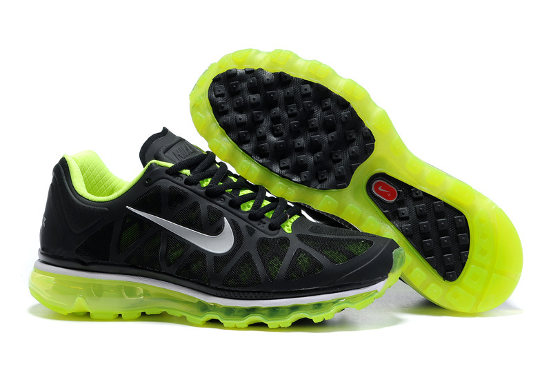 Air Max 2011 Netty Femme Breathable-Running Chaussure Green Noir Silver