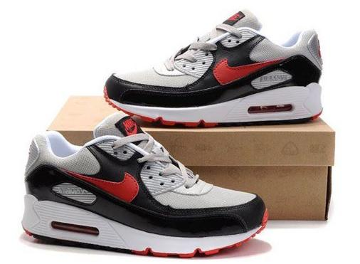 Air Max 90 Homme Chaussure pas cher Gros Noir Red Grey