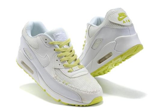Air Max 90 Homme Chaussure pas cher Gros blanc Greenyellow
