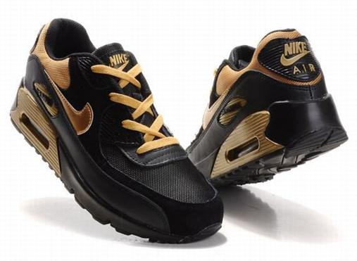 Air Max 90 Homme Chaussure pas cher Gros Yellow Noir
