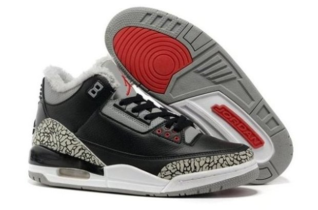 pas cher Sale For Sale SHopping Air Jordan 3 III Cement Retro Homme Chaussure for Winter Fur Noir Grey