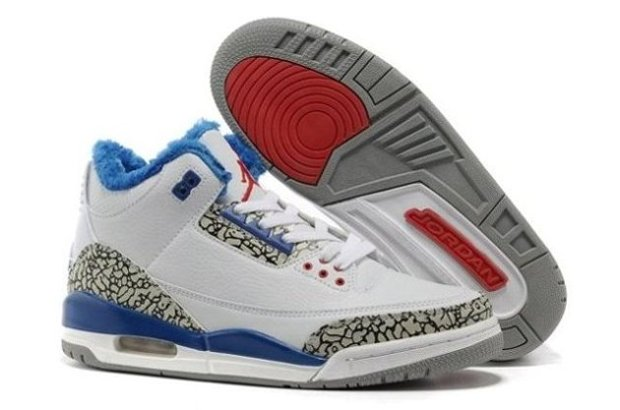 pas cher Sale For Sale SHopping Air Jordan 3 III Cement Retro Homme Chaussure for Winter Fur blanc Bleu