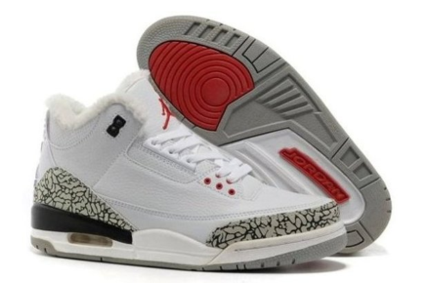 pas cher Sale For Sale SHopping Air Jordan 3 III Cement Retro Homme Chaussure for Winter Fur blanc Grey