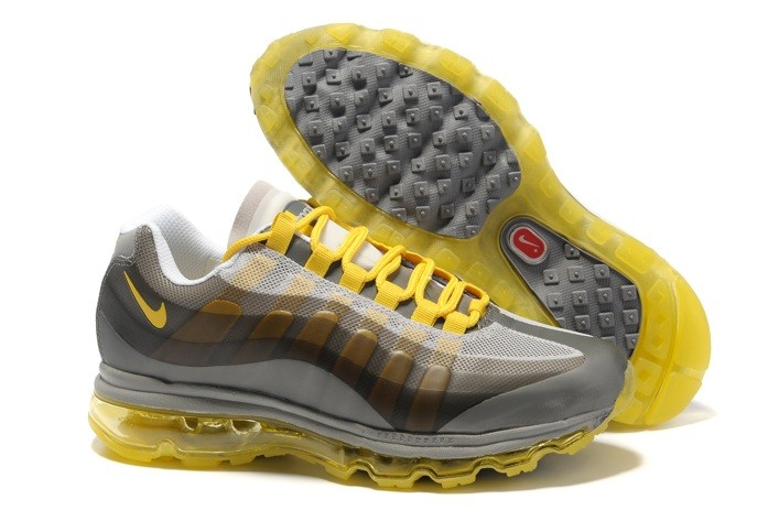 Discount 2013 New Nike Air Max 95 360 Homme Chaussure Grey Yellow