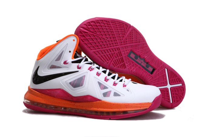 Discount Nike Lebron X 10 Homme Sneakers Chaussure New blanc Orange Rose