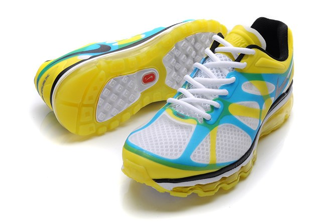 Discount Outlet Air Max 2012 Homme Chaussure Breathable For Sale Yellow blanc Bleu