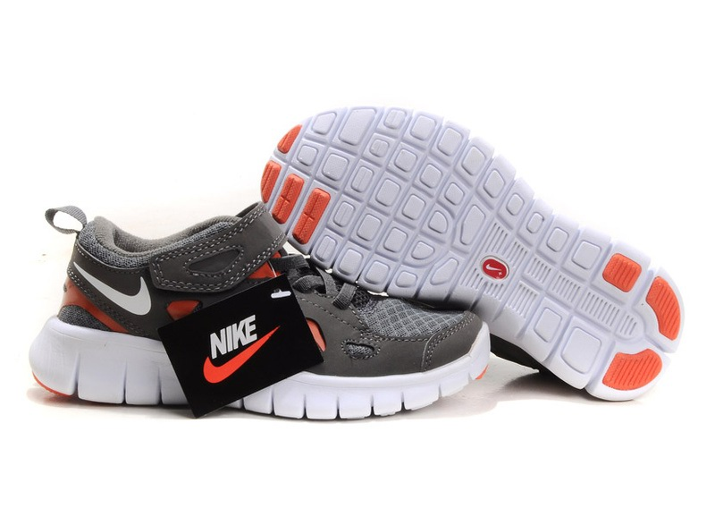 Enfants Nike Free Run Orange Bleu Blanc