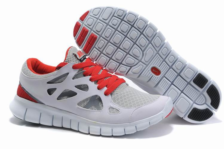Hommes Nike Free Run 2.0 gray Rouge Chaussures de course