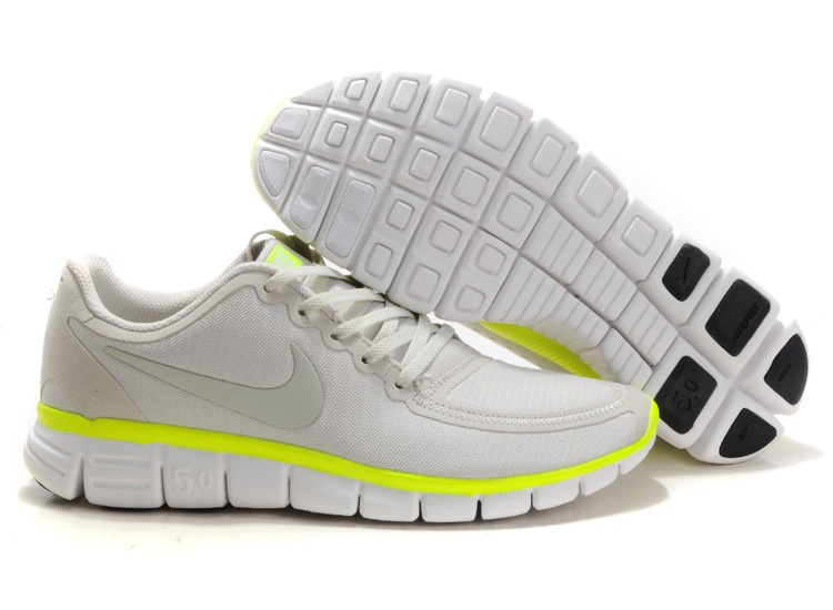 Hommes Nike Free 5.0 V4 Blanc gray Chaussures vertes fluorescentes