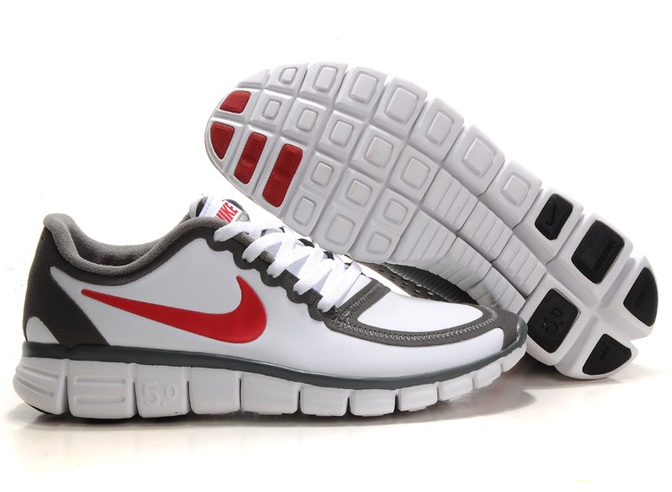 Hommes Nike Free 5.0 V4 Chaussures Blanc gray Rouge Blanc