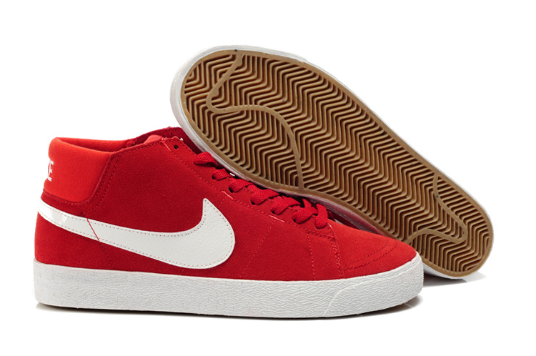 Nike 6.0 Blazer Milieu LR Suede Chaussure Rouge Blanc