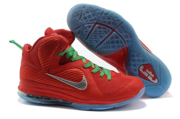 Nike Air Max LeBron James 9 Chine tous Rouge/Vert Chaussures de basket-ball