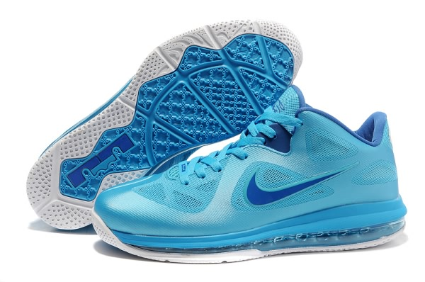 Nike Air Max LeBron James bas du 9 Bleu/Lune Chaussures Basketball