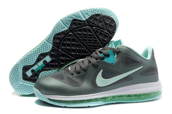 Nike Air Max LeBron James bas du 9 gray/LightGreen Chaussures de basket-ball