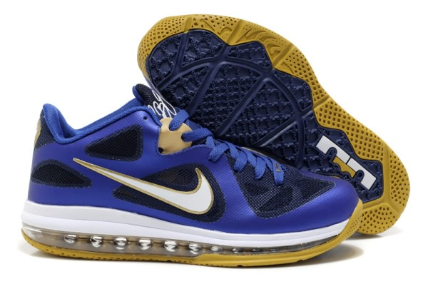 Nike Air Max LeBron James bas du 9s Chaussures de basket-ball bleu royal/or